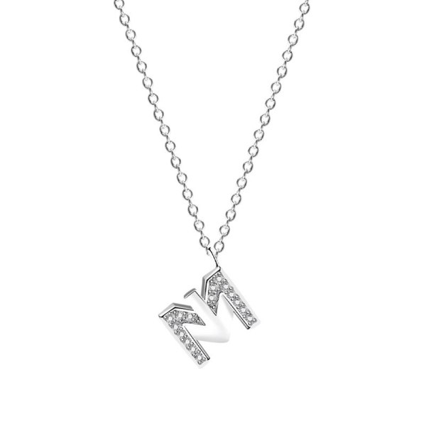 New S925 Sterling Silver Jewelry Letter M Pendant Necklace Collarbone Chain Mlya0068
