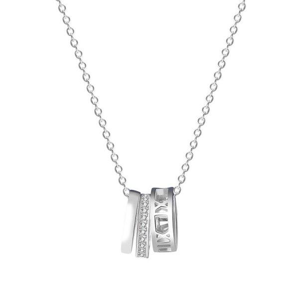 S925 Pure Silver Three-ring Geometric Necklace Female Collar Collar Doughnish Fashion Jewelry MlA2055