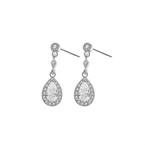 S925 Sterling Silver Stud Earrings Female Korean Fashion Creative Diamond Zircon Drop Earrings MlE2107