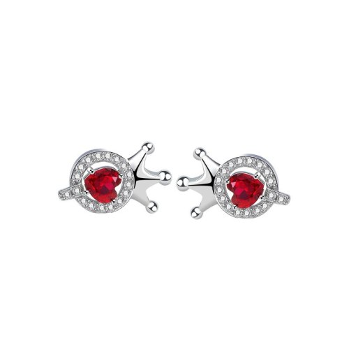 S925 Sterling Silver Crown Earrings Female Korean Fashion Letter Q Red Love Stud Earrings Mle2204