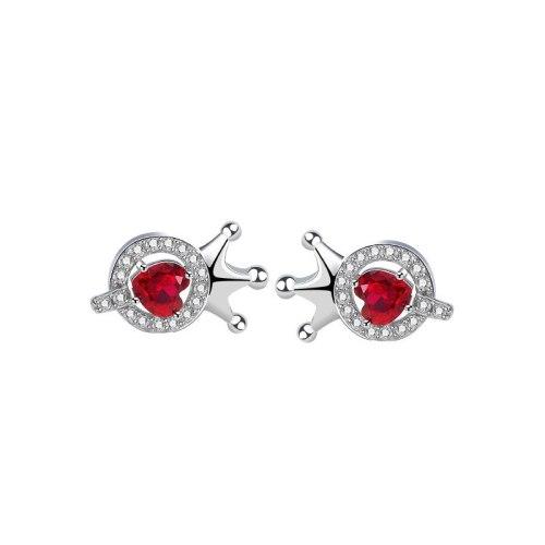 S925 Sterling Silver Crown Earrings Female Korean Fashion Letter Q Red Love Stud Earrings Mle2204