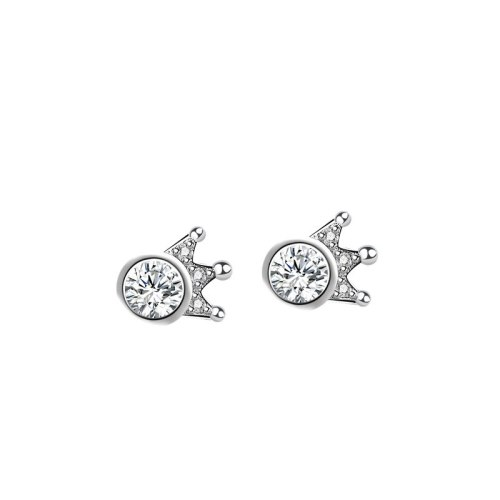 S925 Pure Silver Jewelry Korean Style Earrings Simple Zircon Crown Earrings Ear Accessories Wholesale Mle1997