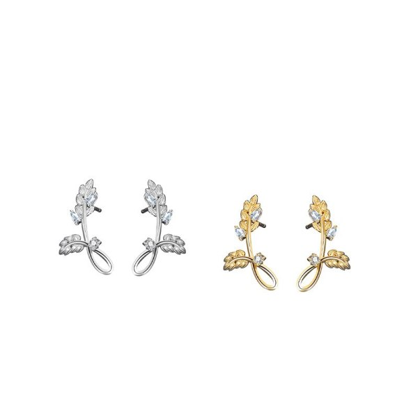 S925 Sterling Silver Earrings Female Small Leaf Earrings Micro Inlaid Zircon Earrings Small Mori Earrings MlE2292