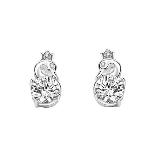S925 Pure Silver Zircon Swan Earrings Women's Fashion Korean Simple Stud Earrings Mle2205