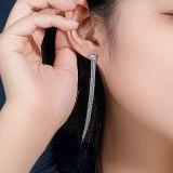 S925 Silver Square Zircon Earrings Women's Geometric Long Tassel Stud Earrings Wholesale Mle2201