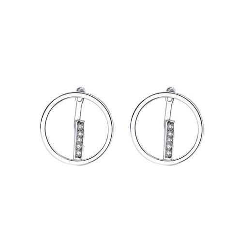 Korean Earrings S925 Silver Earrings Micro Inlaid with Zircon Round Stud Earrings Mle2199