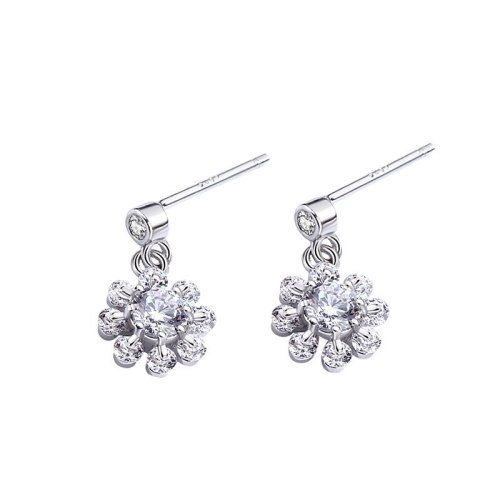 Mori Flower Earrings Women's Korean Temperament Classic Zircon Stud Earrings S925 Sterling Silver Earrings Mle1526