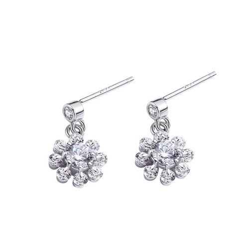 Mori Flower Earrings Women's Korean Temperament Classic Zircon Stud Earrings S925 Sterling Silver Earrings Mle1526