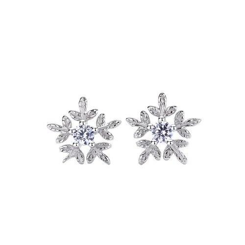S925 Pure Silver Jewelry Snowflake Studs Female Temperament Korean Version Earrings New Accessories MlF237