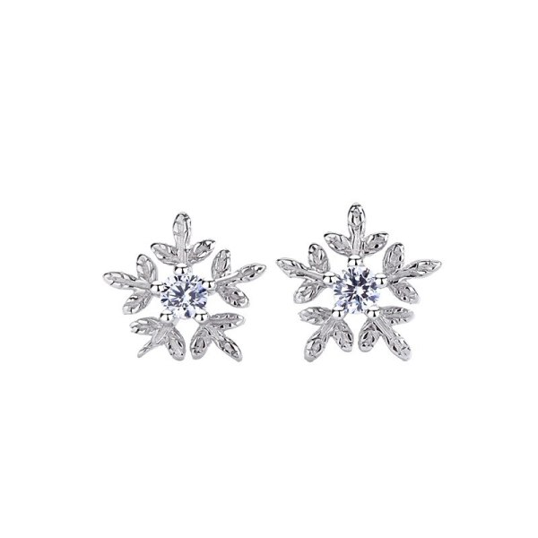 S925 Pure Silver Jewelry Snowflake Studs Female Temperament Korean Version Earrings New Accessories MlF237