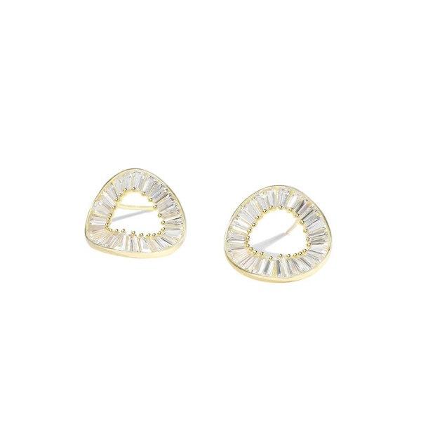 S925 Pure Silver Geometric Circle Earrings Female Minimalist Diamond Stud Earrings Jewelry Wholesale MlF2582