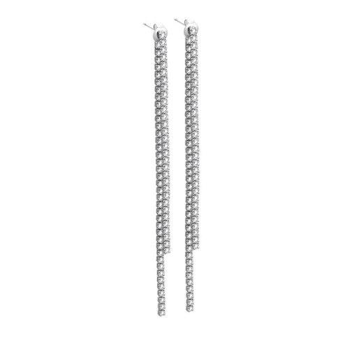 Korean Version of The New Jewelry Set Zircon Long Earrings S925 Pure Silver Studs Earrings Female MlE2197