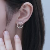 Korean Earrings S925 Silver Earrings Micro Inlaid with Zircon Round Stud Earrings Mle2199