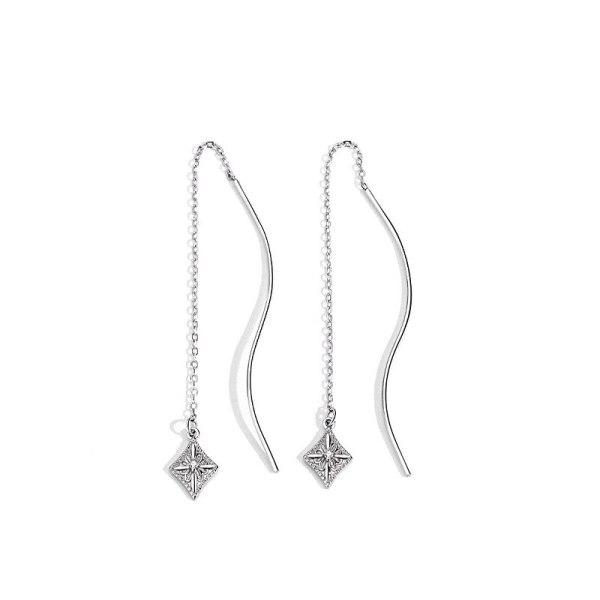 S925 Pure Silver Flower Ear Line Korean Version Long Ear Line Female Earrings Jewelry Mle2200