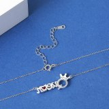 925 Sterling Silver Red Heart Crown Necklace Clavicle Chain English Letter Queen Necklace MlA2062