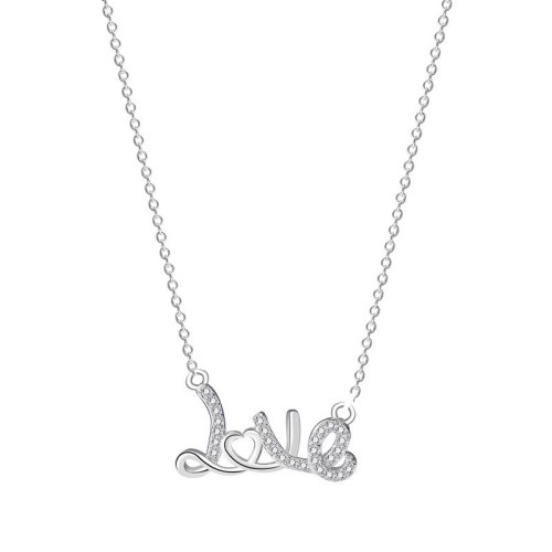 S925 Sterling Silver English Letter Love Necklace Female Heart-shaped Hollow Micro Set Chain Wholesale MlA2058