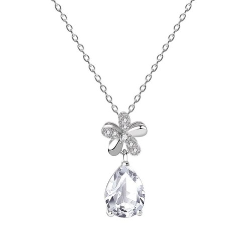 S925 Sterling Silver Ten Hearts Ten Arrows Drop Zircon Necklace Female Flower Dew Drop Pendant Clavicle Chain Wholesale MlYA0099