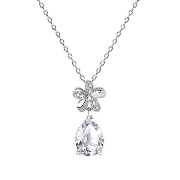 S925 Sterling Silver Ten Hearts Ten Arrows Drop Zircon Necklace Female Flower Dew Drop Pendant Clavicle Chain Wholesale MlYA0099