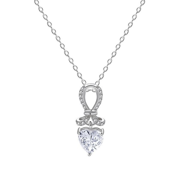 S925 Sterling Silver Zircon Pendant Creative Love Diamond Necklace Clavicle Chain MlYA0100