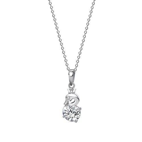 925 Sterling Silver Pendant Necklace Women Ins Korean Style Zircon White Swan Necklace MlA2066