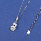 925 Sterling Silver Pendant Necklace Women Ins Korean Style Zircon White Swan Necklace MlA2066