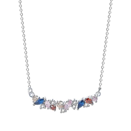 S925 Silver Color Stone Necklace Women Fashion All-match Candy Color Zircon Clavicle Chain Pendant MlA2063