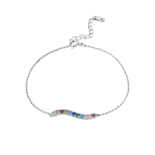 S925 Silver Colored Stone Bracelet Female Small Fresh Wave Curve Inlaid Zircon Wrist Ornament Wholesale MlL521