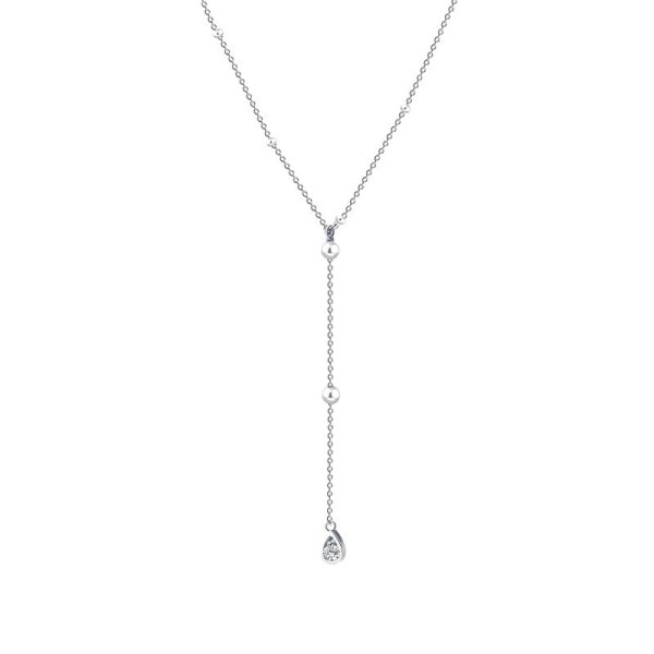 S925 Sterling Silver Water Drop Tassel Clavicle Chain Female Simple Temperament Geometric Round Bead Necklace MlA2061