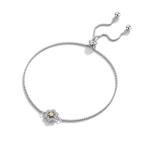 S925 Sterling Silver Box Chain Bracelet Korean Version Mori Flower Bracelet Women's Simple Silver Hand Ornament Mll504