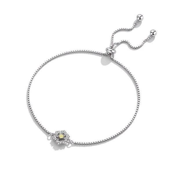S925 Sterling Silver Box Chain Bracelet Korean Version Mori Flower Bracelet Women's Simple Silver Hand Ornament Mll504