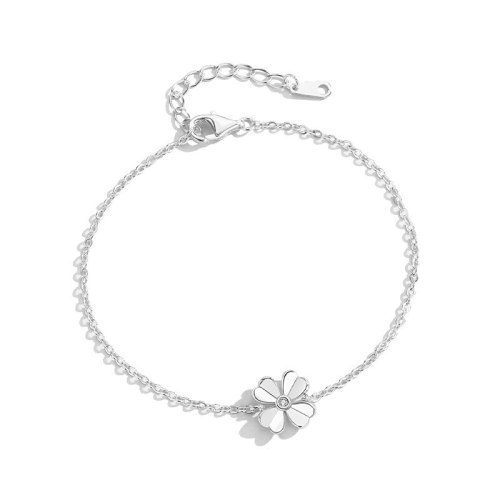 S925 Sterling Silver Cross Chain Bracelet Day Korean Forest Four-leaf Clover Bracelet Women's Simple Hand Jewelry MlL503
