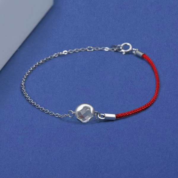 S925 Silver Round Inlaid Zircon Bracelet Female National Style Red Rope Wrist Ornament MlL524
