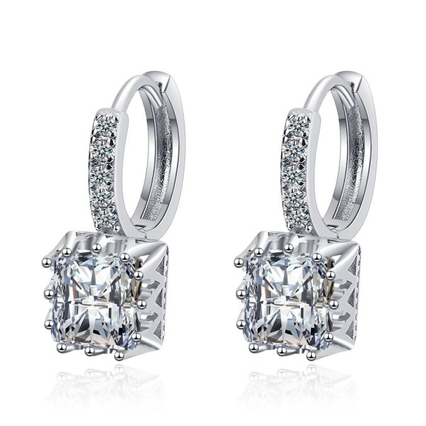 Korean Style Small and Fresh Cubic Zircon Earrings with Simple and Sweet Full Diamond Earrings XzEH612