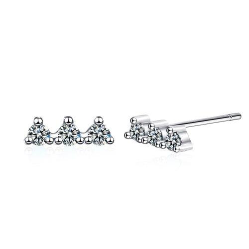 Korean Version Row Drill Earrings Blue Pine Zirconium Temperament Simple Women's Small Ear Jewelry Xzed907