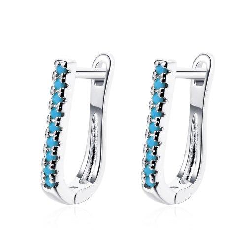 Ear Buckle Female Korean Version Fashion Geometric Oval Set Blue Pine Zircon Simple Temperament Geometry Ear Jewelry XzEH609