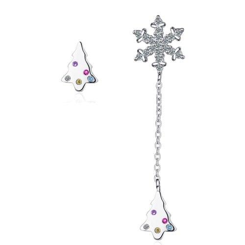 Asymmetric Earrings Female Korean Version of Small Fresh and Diamond Snowflake Long Christmas Tree Sweet Ear Jewelry XzED902