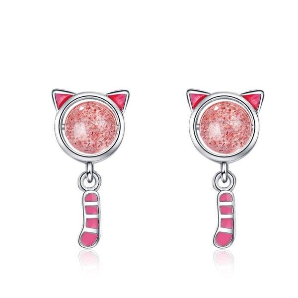 Korean Version Strawberry Cat Studs Female Drop Glue Cute Earrings Personality Creative Earrings XzED909