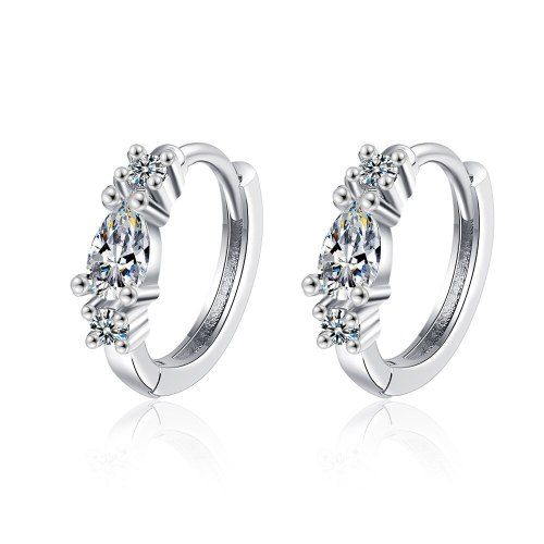 Lan Song Zircon Ear Buckle Korean Small Fresh Diamond Round Ear Buckle Temperament Literary Small Ear Ring Ear Jewelry XzEH608
