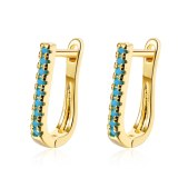 Ear Buckle Female Korean Version Fashion Geometric Oval Set Blue Pine Zircon Simple Temperament Geometry Ear Jewelry XzEH609