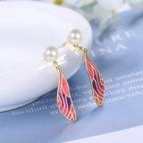 Korean Version Epoxy Gradient Wings Stud Earrings Sweet Pearl Long Earrings Girly Ear Jewelry XzED910