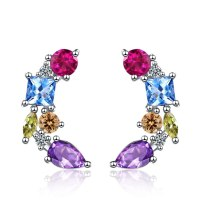 Fashion Colorful Zircon Studs Female European and American Fashion Temperament Personality Ear Accessories XzED911