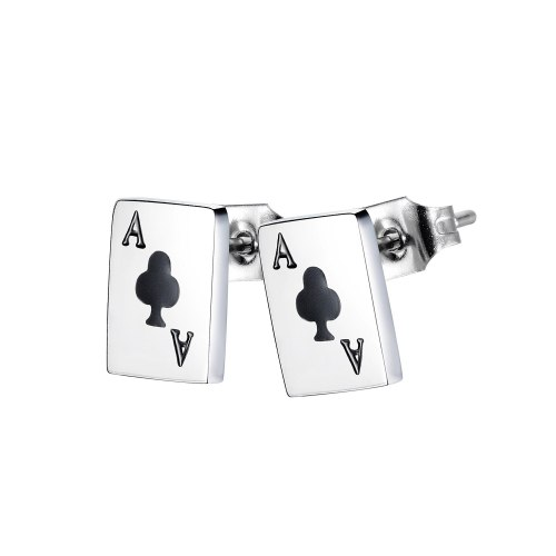 Japan and South Korea Creative Design Playing Cards Earrings Fashion Wild Letters Stainless Steel Earrings Gb647