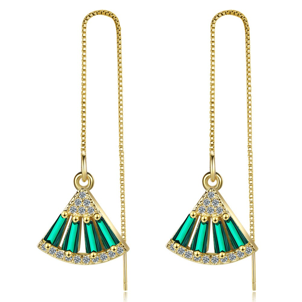 Emerald Zircon Long Tassel Ear Line Fan Earring Temperament Simple Earring XzEH604