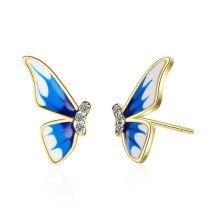 Enamel Color Wings Butterfly Gradient Blue Classical Antique Earrings Stud Earrings XzED904
