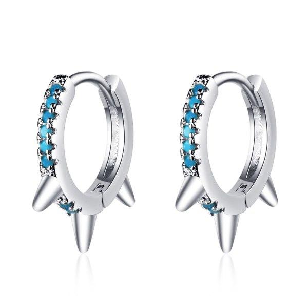 Light Luxury Single Row Diamond Earrings, Personalized Fashion, Blue Pine Zircon Earrings, Conical Earrings, Female Xzh607