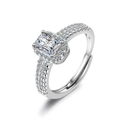 Korean Version of The Fashion Simple Ring Princess Square Diamond Woman Wedding Ring XzJZ352