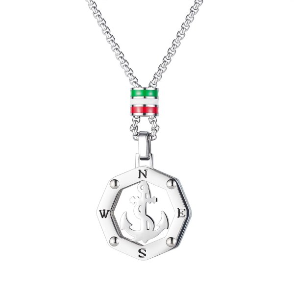 Fashion Men's Anchor Necklace Accessories European and American Hip Hop Hollow Out Retro Titanium Steel Pendant Gb1883