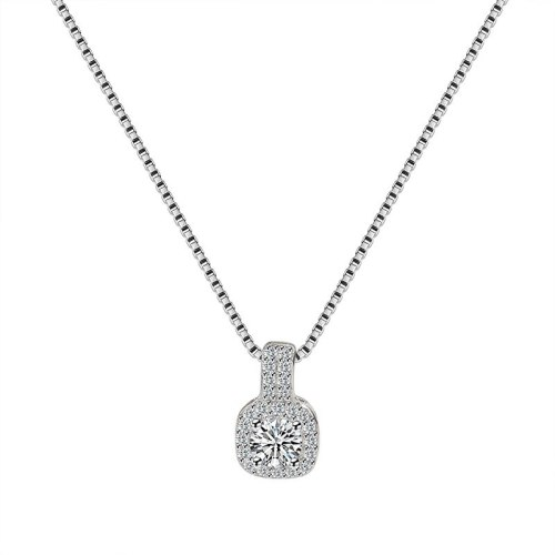 S925 Sterling Silver Pendant Female Jewelry European and American Simple Zircon Necklace Silver Pendant Mla1829