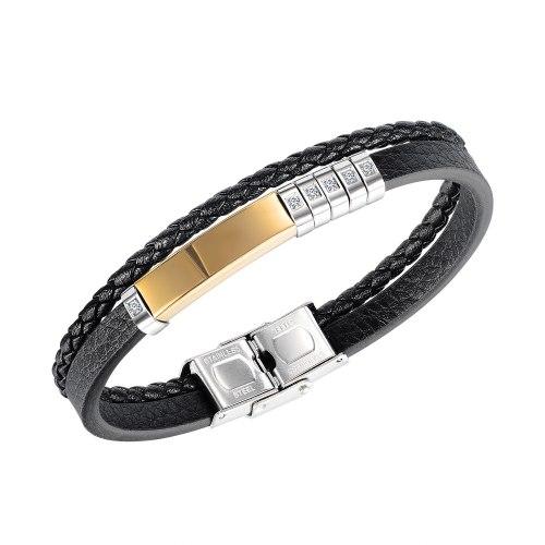 The New Simple Titanium Steel Diamond Men's Leather Bracelet Street Tide Men's Jewelry Wholesale Gb1452