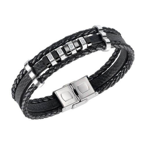 European Personality Diamond-studded Leather Bracelet Accessories Multi-layer Leather Men's Leather Bracelet Gb1442